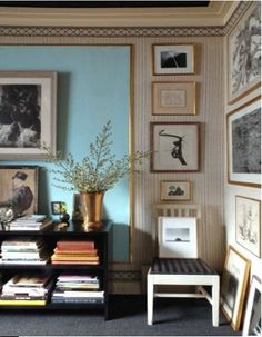 Interesting idea to get some smooth wall within the brick texture-large frame on painted drywall with art gallery within