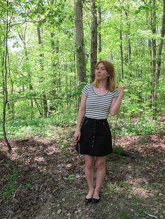 Black Stretch Twill Rosari Skirt