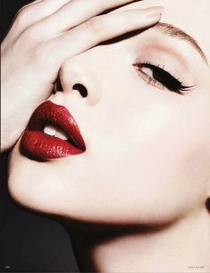Vogue Germany Model: Anais Pouliot Photographer: Ben Hassett Makeup by: Linda Cantello Nails by: Elsa Durrens No Words Dramatic Lips Red Lipstick Mascara Eye liner
