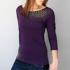 women's Star boat neck in eggplant by Xenotees