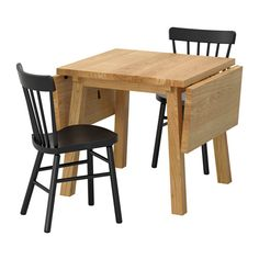 IKEA NORRARYD/MÖCKELBY Table and 2 chairs Oak/black 79 cm Every table is unique…