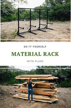 How to make your own metal material rack. Full video tutorial and plans available! Decor Style Home Decor Style Decor Tips Maintenance home Lumber Rack, Lumber Storage, Wood Rack, Wood Storage, Storage Racks, Cool Welding Projects, Diy Welding, Wood Projects, Woodworking Projects