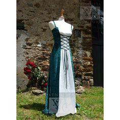 Medieval Gothic Slip Dress with corset lacing Made to order in your... ($83) ❤ liked on Polyvore featuring dresses