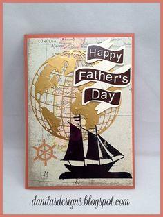 Tim Holtz Globe die Fathers Day Card Masculine card
