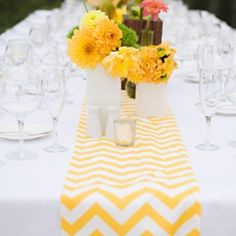 I absolutely LOVE chevron right now! Yellow and white chevron pattern table runner. Spring Wedding, Our Wedding, Dream Wedding, Wedding Ideas, Wedding Wishes, Wedding Stuff, Wedding Table Centerpieces, Wedding Decorations, Table Decorations
