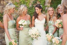 Light Pastel Green Bridesmaid Dresses | A Creative Life.  I think I love this color for the maids!