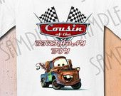 T-shirt Disney Cars cousin  Party Ideas Custom Iron On Transfer Printable Birthday Boy Cars Aplique digital download Personalized Pixar