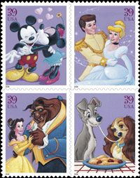 Real US Postal Service stamps The Art of Disney Romance