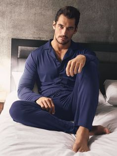 Here's How To Look Like David Gandy Between The Sheets Famous Male Models, Gideon Cross, Leather Hoodie, Cute Pajama Sets, Androgynous Models, David James Gandy, David Gandy Body, Barefoot Men, Photography Poses For Men