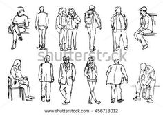 A collection of hand drawn people in linear style. Different characters and poses. Human Figure Sketches, Human Sketch, Figure Sketching, Urban Sketching, Figure Drawing, Learn Drawing, People Figures, People Art, Human Figures