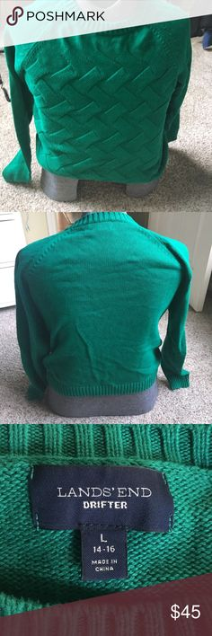 Lands End 100% cotton sweater in emerald green Great sweater worn 1x Lands' End Sweaters Crew & Scoop Necks
