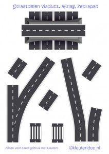 Straaplaten voor kleuters A3, straatdelen viaduct, afslag, zebrapad, kleuteridee.nl , road for preschool, free printable.