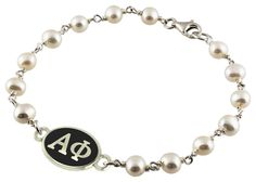 Alpha Phi Tin Cup Pearl Bracelet with Antiqued Top
