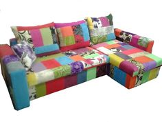 PATCHWORK Corner sofa bed with two storages -multicoloured Fast Delivery