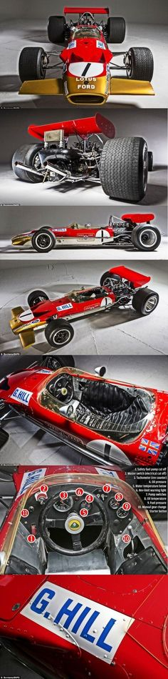 —– The Lotus —— the British world champion in 1968 —- Graham Hill Lotus F1, Classic Motors, Classic Cars, Vintage Racing, Vintage Cars, Sport Cars, Race Cars, F1 2017, F1 Racing