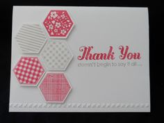 Lisa Curcio: Six-Sided Thanks, hexagon punch, hexagon stamps