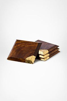 Gold Leaf Wood Coaster | At Home by DVF