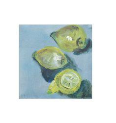 Lemon Original Drawing on Collage / Canvas /  turqouise lemon  free shiping 78x798 inch (45.00 EUR) by Kunstmuellerei