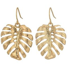 The Sak Palm Leaf Drop Earrings (Gold) Earring ($24) ❤ liked on Polyvore featuring jewelry, earrings, beach jewelry, gold hook earrings, beach earrings, gold palm tree earrings and gold jewellery