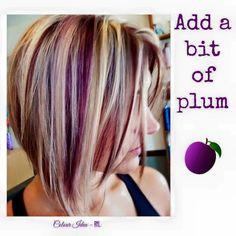 Plum Hair, Purple Hair, Burgundy Blonde Hair, Brown Blonde, Short Blonde, Dark Purple, Light Purple, Hair Color And Cut, Cool Hair Color