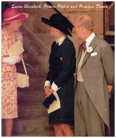 14 July 1994: Queen Elizabeth, Prince Phillip & Princess Diana attend the wedding of Sarah Armstrong-Jones to Daniel Chatto at St Stephen's Church in London.