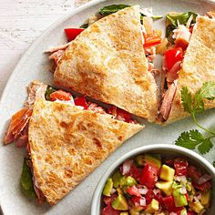 Smoked Salmon Quesadillas with Avocado Salsa Dunk your salmon-packed quesadilla into a bowl of fruity avocado salsa for star-status flavor. Start looking for avocados in your local grocery store or farmers market around late March. Note: The darker the skin, the riper the avocado.