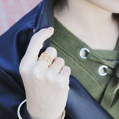 The things worth holding on to.  #jewelry #rings #gold #rosegold #look #leather #olive #style #fashionrings #eternalsparkles  See more gold jewelry at: https://www.eternalsparkles.com/