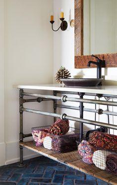Pipe vanity with wood on bottom shelf