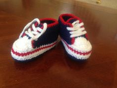 Crochet baby sneakers for beautiful baby. by BabyHandmadeCrochet