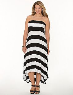 Embrace the season in a soft & sexy maxi dress! Worn as a tube dress or with the optional straps, this maxi hits the high notes of all the hottest trends with dramatic black & white stripes and a high-low hem. Adhesive top keeps the fit secure. lanebryant.com