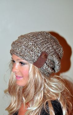 Slouchy Beanie Slouch Hat Button Knit Crochet Winter Women Hat Wool CHOOSE COLOR Birch Brown Tweed Girly Gift under 50