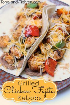 Healthy Grilled Chicken Fajita Kebobs from Tone-and-Tighten.com