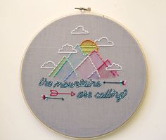 Aztec/Tribal Nursery Decor -super-cute Embroidered Hoop Art from Etsy