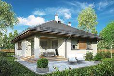 Tip Top III. Parterowy dom z czterospadowym dachem i tarasem - Studio Atrium
