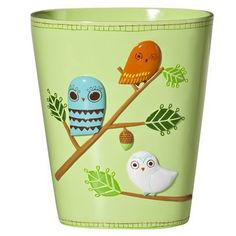 """""""Hoo"""" says owls only come out at night? Wise up to the new look in bath with the Give a Hoot trash can, featuring a whimsical owl-and-branch design in a palette that's just right, morning or midnight. x x Resin Wipe clean Trash And Recycling Bin, Whimsical Owl, Cute Owl, Bath Decor, Decoration, Bathroom Accessories, Cleaning Wipes, Retro, Creative"""