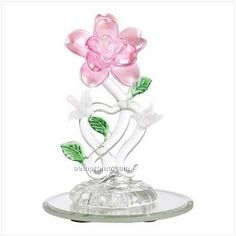Spun Glass Rose And Doves Figurine