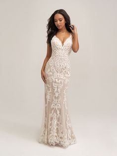 This lace wedding dress features a plunging neckline, delicate thin straps & a gorgeous illusion back with a stunning dramatic train! Mirrored symmetrical appliqués texture the overlay of this sleeveless sheath wedding dress! Allure Romance - 3459 Wedding Dress Sizes, Dream Wedding Dresses, Designer Wedding Dresses, Lace Wedding, Allure Romance, Bridal And Formal, Quinceanera Dresses, Formal Gowns, Bridal Gowns