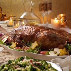 Roast Goose with Sweet Glaze Recipe -While goose is thought of as a traditional Christmas entree, some people do not care for the all dark meat bird. My recipe will change their mind in one bite. The sweet citrus glaze compliments the rich, juicy meat perfectly. —Colleen Sturma, Milwaukee, Wisconsin