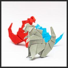 Illustration of folded paper as Godzilla (Origami Godzilla) - Figure Godzilla Party, Godzilla Birthday Party, Birthday Fun, Oragami, Origami Paper, Yarn Crafts, Paper Crafts, Diy Crafts, Origami Godzilla