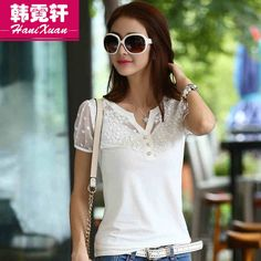 T恤女夏季短袖2015新款韩版女装蕾丝T恤修身短袖上衣夏装拼接t恤-tmall.com天猫