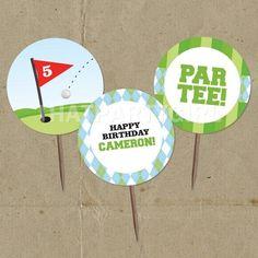 DIY Golf PAR-TEE Birthday Party Favor Tags Cup Cake Toppers - Digital U Print 70th Birthday Parties, Birthday Party Favors, Birthday Cards, 4th Birthday, Birthday Ideas, Golf Baby Showers, Twin First Birthday, Crafts With Pictures, Party Favor Tags