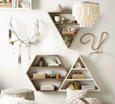 Hexagon Wood Curio Shelf from Restoration Hardware
