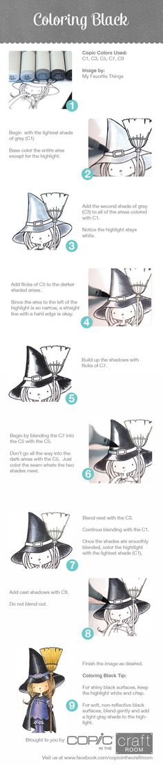 Copic Marker Tutorial: Coloring Black with a cute little witch. Copic Pens, Copic Art, Copic Sketch, Copics, Prismacolor, Coloring Tips, Colouring Pages, Coloring Books, Colouring Techniques