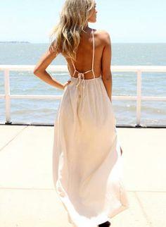 white openback dress #maxidress #hippie #bohochic