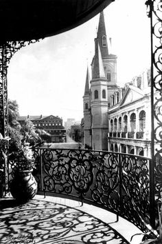 Old New Orleans French Quarter Wrought Iron Balcony Church Steeple View Early NOLA Louisiana Black and White Photography Photo Print Old Images, Old Photos, Photography Photos, White Photography, New Orleans History, Iron Balcony, New Orleans French Quarter, Between Two Worlds, Little Paris