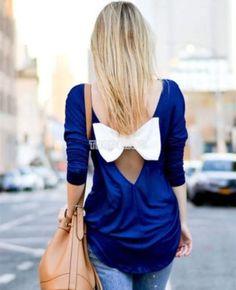 TOP-Femme-manches-longues-Dos-nu-T-shirt-Chemisier-bowknot-vrac-Haut-Blouse