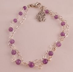 Amethyst and silver bracelet by Rumis on Etsy, $20.00