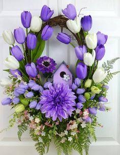 Purple Birhouse Wreath Summer Wreaths for Front Door Summer Spring Door Wreaths, Deco Mesh Wreaths, Easter Wreaths, Summer Wreath, Holiday Wreaths, Wreath Crafts, Diy Wreath, Spring Flowers, Purple Flowers