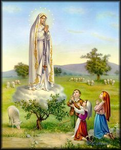 Our Lady of Fatima Religious Pictures, Jesus Pictures, Religious Art, Angel Pictures, Mother In Heaven, Divine Mother, Lady Of Lourdes, Lady Of Fatima, Blessed Mother Mary