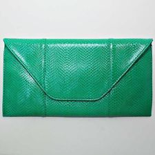 """Green Leather Clutch Bag Oversized Envelope 15x7 1/2"""" Faux Snake New in Pkg"""
